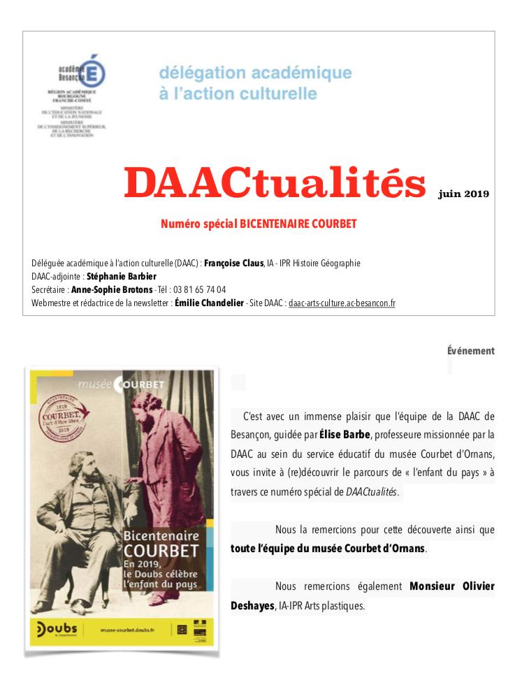 DAACtualités – Découvrez le numéro spécial de juin consacré au bicentenaire Courbet !