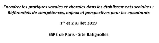 """Séminaire """"Encadrer les pratiques chorales en milieu scolaire"""" – 1er et 2 juillet 2019"""