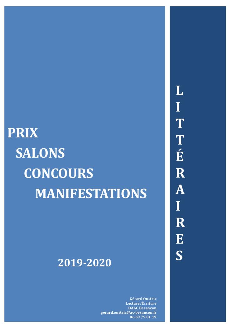 Prix, concours, manifestations et salons littéraires dans l'académie de Besançon