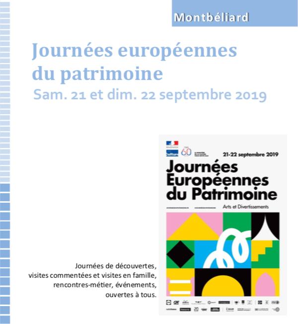 Découvrez le programme des Journées Européennes du Patrimoine à Montbéliard