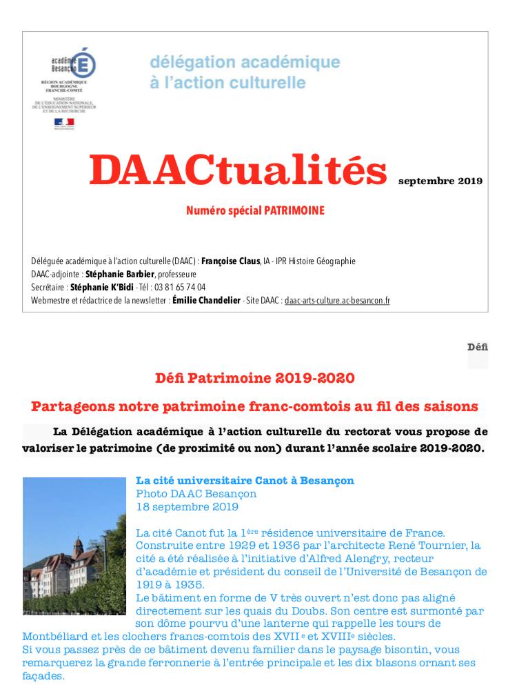 DAACtualités – Découvrez le numéro de septembre consacré au patrimoine