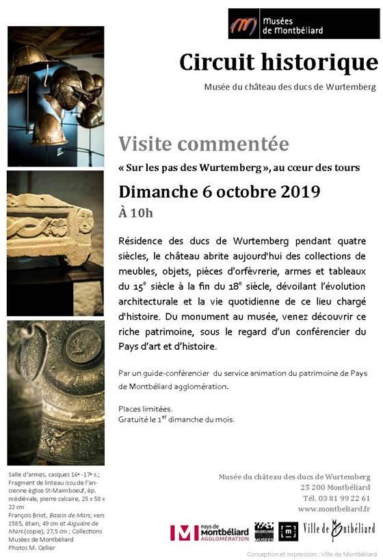 Visite du circuit historique – Dimanche 6 octobre 2019 – Musées de Montbéliard