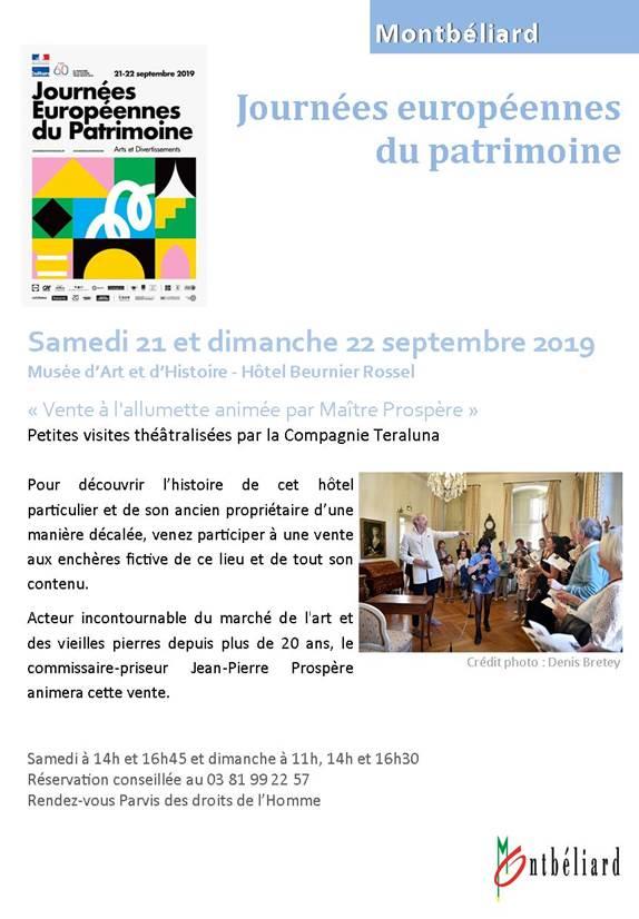 Petites visites théâtralisées du musée d'Art et d'Histoire – 21 et 22 septembre 2019 – Montbéliard