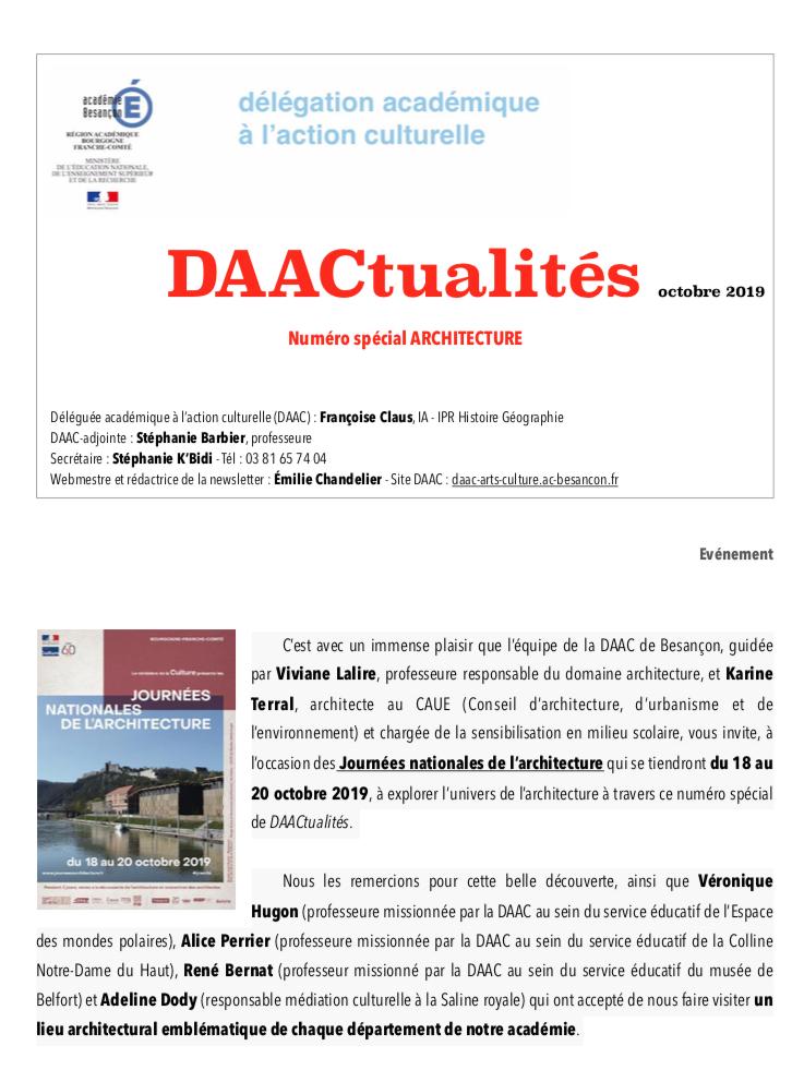 DAACtualités – Découvrez le numéro d'octobre consacré à l'architecture