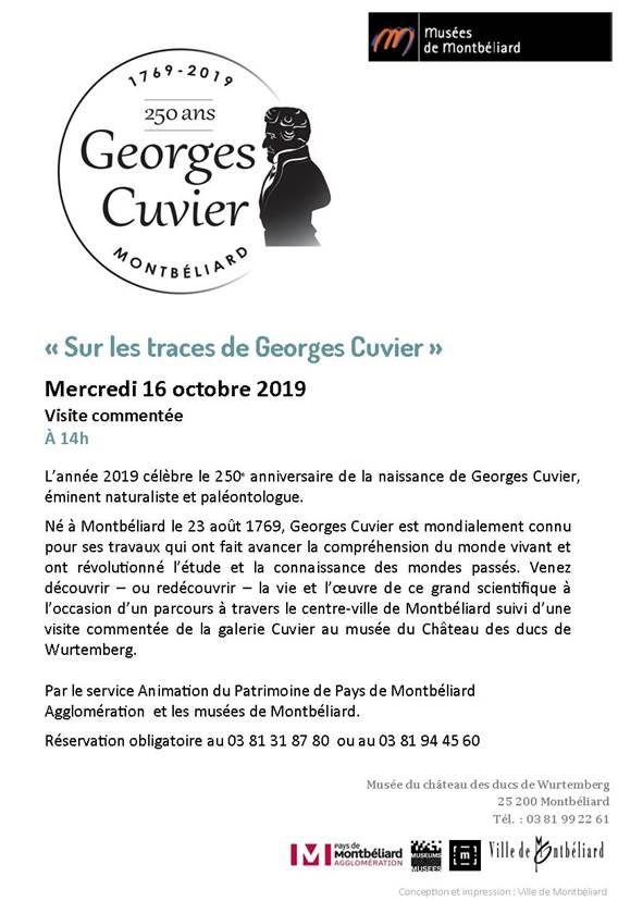 """Visite commentée """"Sur les traces de Georges Cuvier"""" – Mercredi 16 octobre 2019 – Musées de Montbéliard"""