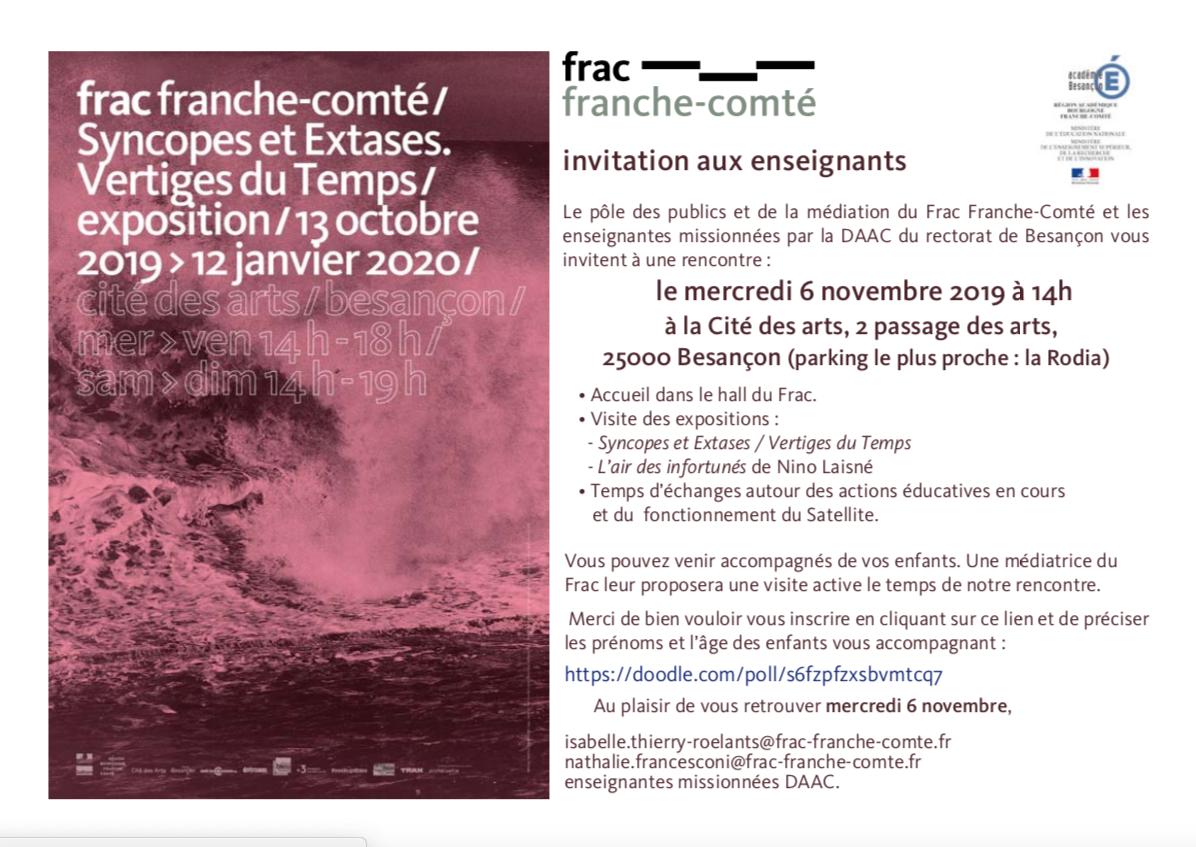 Rencontre Enseignants/ Frac – Mercredi 6 novembre 2019