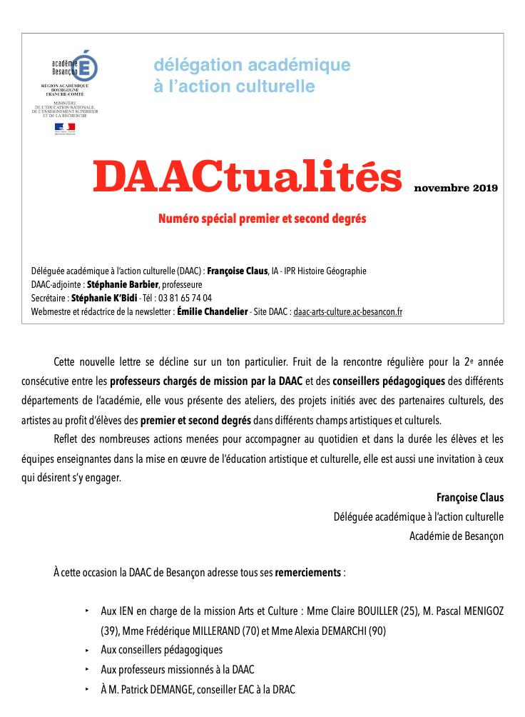 DAACtualités – Découvrez le numéro de novembre 2019