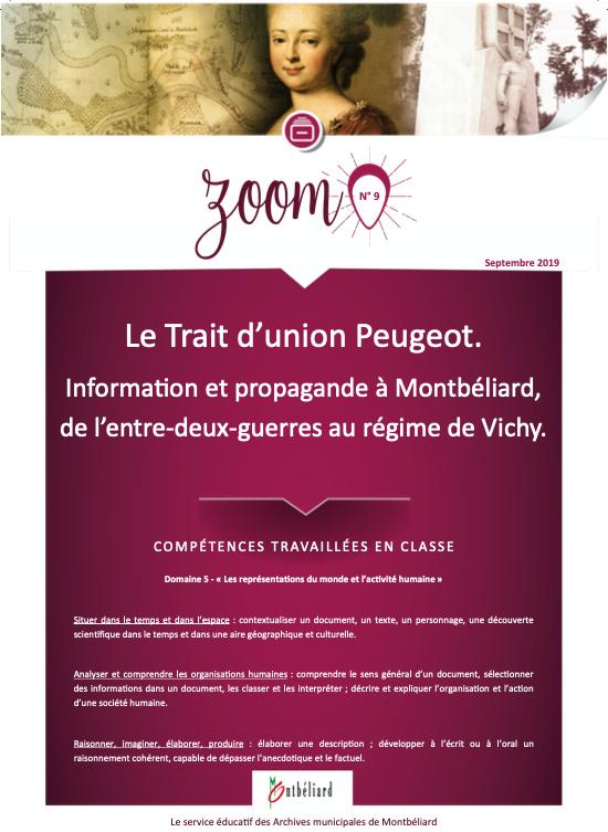 Zoom n°9 : Le trait d'union Peugeot. Information et propagande à Montbéliard, de l'entre-deux-guerres au régime de Vichy