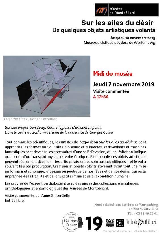 Les midis du musée – Jeudi 7 novembre 2019 – 19, CRAC et Musées de Montbéliard