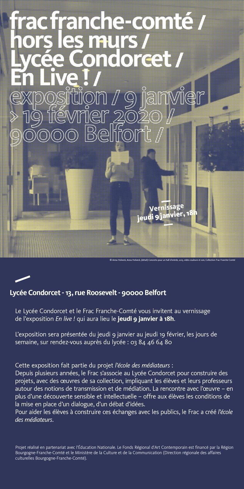 """""""En Live !"""" exposition Frac au Lycée Condorcet de Belfort du 9 janvier au 19 février 2020"""