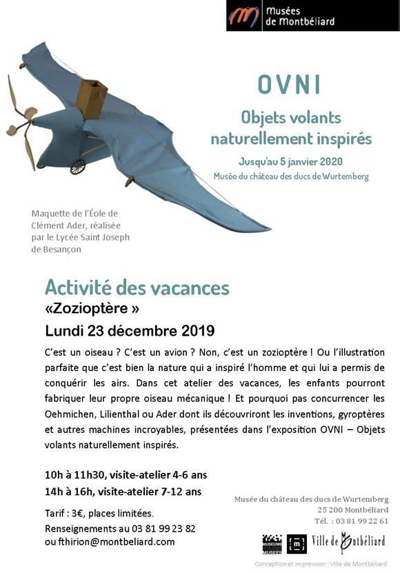 """Activités des vacances """"Zozioptère"""" – Lundi 23 décembre 2019 – Musées de Montbéliard"""