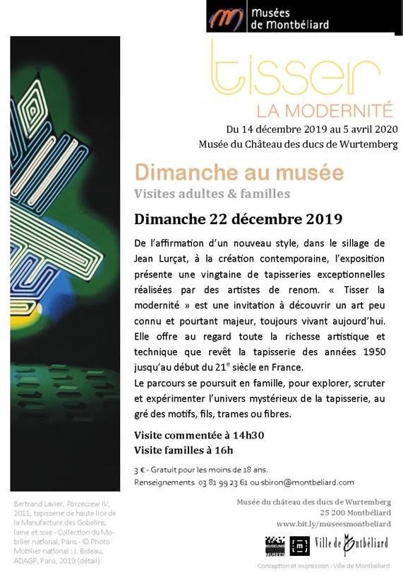"""Dimanche au musée """"Tisser la modernité – Dimanche 22 décembre 2019 – Musées de Montbéliard"""