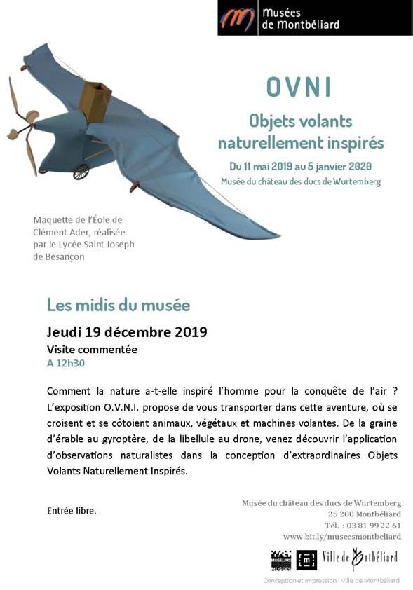 """Fwd: Midi du musée """"OVNI"""" – Jeudi 19 décembre 2019 – Musées de Montbéliard"""