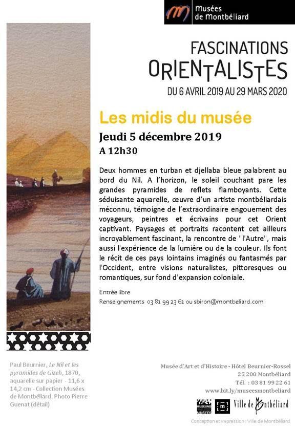 Les midis du musée – Jeudi 5 décembre 2019 – Musées de Montbéliard