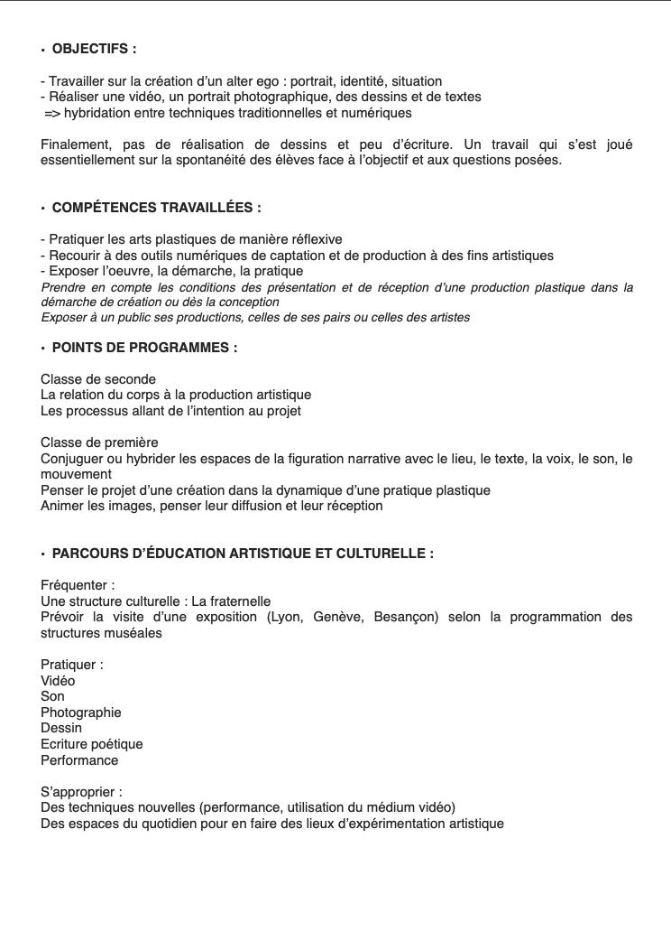 L'alter ego, l'autre c'est moi, semaine culturelle avec Baptiste Brunello pour les élèves du Pré-Saint-Sauveur de Saint-Claude