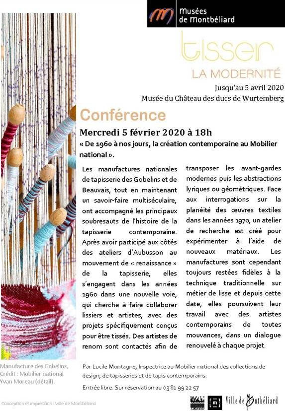 """Conférence """"De 1960 à nos jours, la création contemporaine au Mobilier national"""" – Mercredi 5 février 2020 – Musées de Montbéliard"""