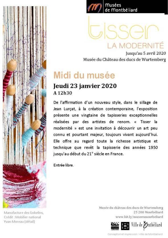 Les midis du musée – jeudi 23 janvier 2020 – Musées de Montbéliard