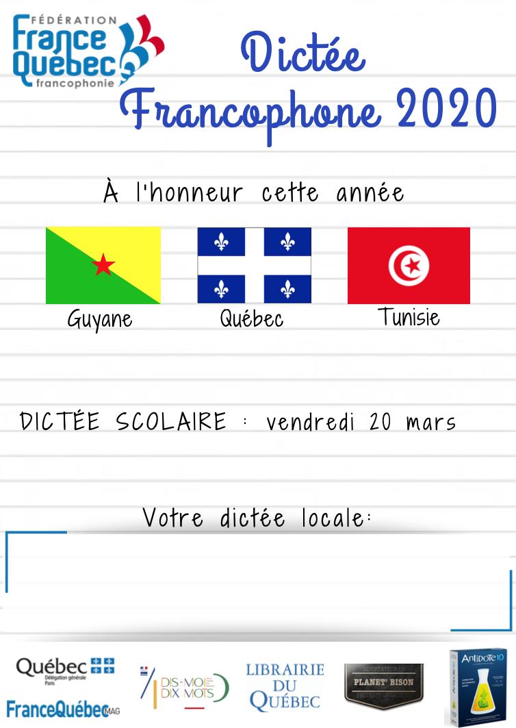 Dictée Francophone 2020