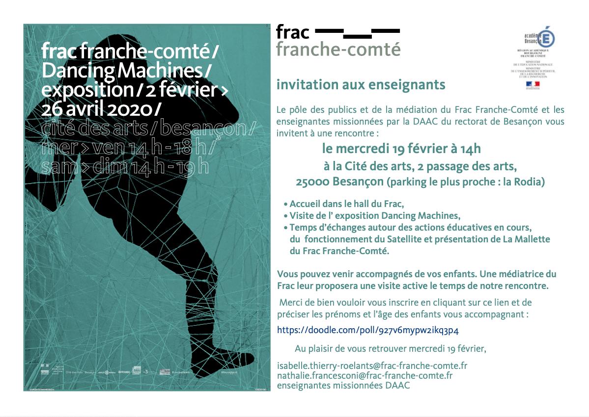 Invitation Rencontre Enseignants / Frac le mercredi 19 février 2020