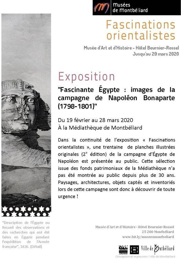 """Exposition """"Fascinante Egypte : images de la campagne de Napoléon Bonaparte (1798-1801) – Médiathèque & Musées de Montbéliard"""