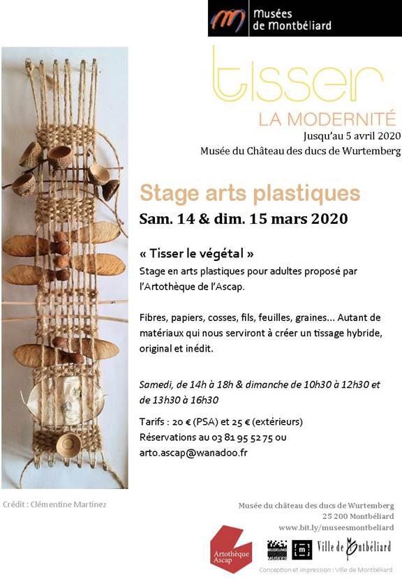 Stage arts plastiques adultes – Samedi 14 et dimanche 15 mars 2020 – Artothèque de l'Ascap & Musées de Montbéliard