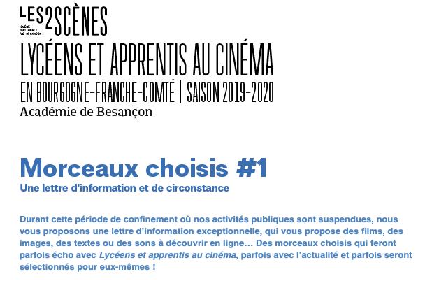 Lycéens et apprentis au cinéma – Morceaux choisis #1