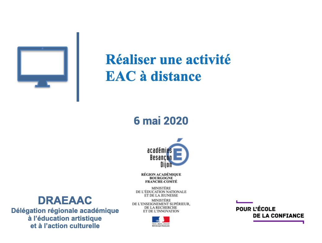 """Webinaire """"Réaliser une activité EAC à distance"""""""
