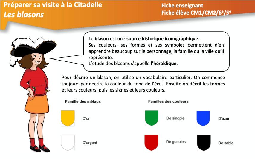 """Préparer sa visite à la Citadelle de Besançon – Fiche pédagogique """"Les blasons"""""""