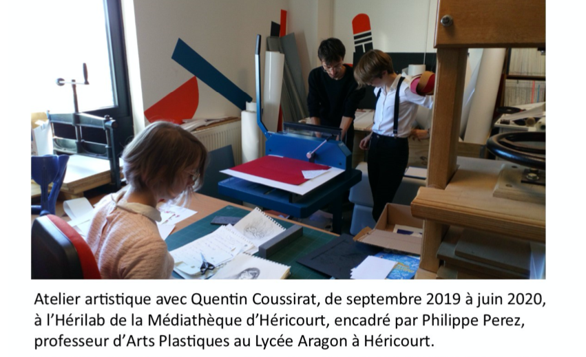 Atelier artistique avec Quentin Coussirat à l'Hérilab de la médiathèque d'Héricourt