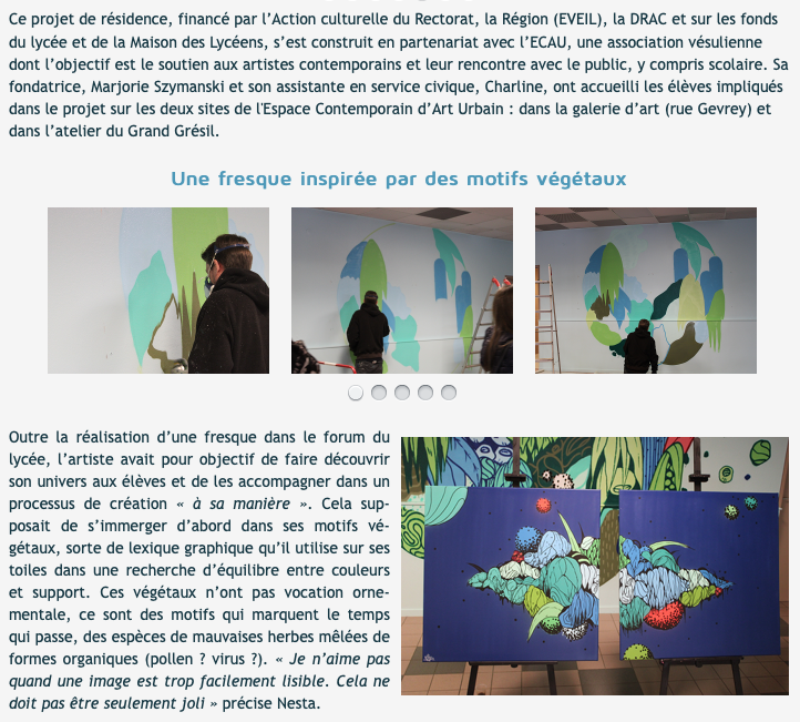Résidence d'artiste du graveur Nesta au lycée Pontarcher