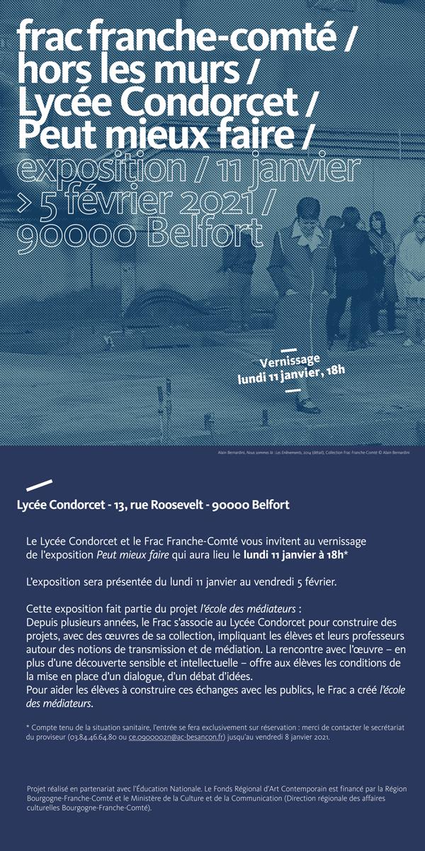 """""""Peut mieux faire"""" exposition Frac au Lycée Condorcet de Belfort du 11 janvier au 5 février 2021"""